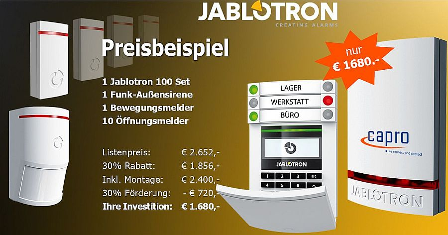 Jablotron Alarmanlage Set mit Bedienteil, Außensirene, 1 Bewegungsmelder, 10 Öffnungsmelder inkl. Montage um nur € 1690,- nach Förderung vom Land NÖ